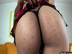 This girl has a big spankable ass, that's just begging to get fucked in every position. Spoiled ebony whore has a strong desire to be fed with cum. So she gets down on her knees and gives her boyfriend the best blowjob of his life.