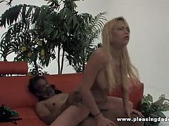 Check the alluring blonde Latina Victoria White sucking and riding Dick Harvest's black cock in this amazing interracial hardcore vid. She always had a thing for older black dudes!