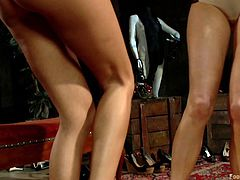 Gia DiMarco and Maitresse Madeline make their slave lay on the ground and they step all over him. They make him lick their feet and rub their soles all over his cock. Madeline gives him a footjob while Gia masturbates herself.