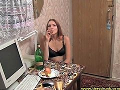 Drunk young Russian beauty in black bra