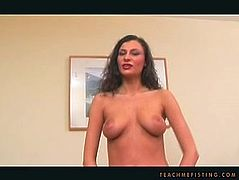 Whorable and mad about masturbation brunette teases pussy on New Year's Eve