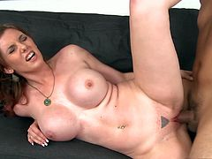 Feel the intense pleasure  today as you join this hardcore anal ramming with busty slut Rainia Belle on the couch.