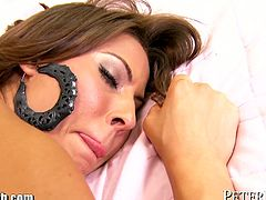 Madison Ivy poses and strips before she gives a nice head. Then she rides cock, takes it from behind and gets a facial.
