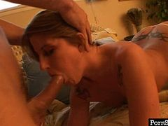 Blonde bimbo gives an amazing blowjob to her horny boyfriend