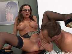 Smoking hot brunette professor with big fake tits and fit body in high heels and lingerie seduces Will Powers and gets licked to intensive orgasm like there is no tomorrow