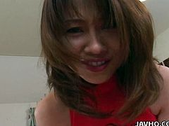 Foxy Japanese prostitute is a real pro in arousing men. She polishes a weak dick with her sharp tongue before she climbs on it to rub it between her pussy lips in sizzling hot sex clip by Jav HQ.