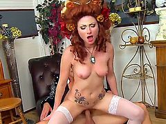 Veruca James and Johnny Sins are dressed like a classy noble couple during oral sex. They quickly get nude and Veruca mounts Johnnys hard dick and rides it lustfully.
