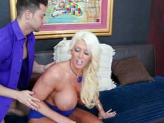Smoking hot long haired blonde milf Alura Jenson with big jaw dropping ass and huge fake tits gives head to young Seth Gamble and enjoys sucking his cock with great lust
