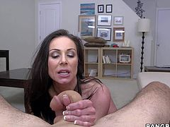 Kendra Lust is a dangerously sexy naked brunette that shows off her round ass and perfect boobs while giving mouth job from your point of view. She sucks dick like a first rate hoe.