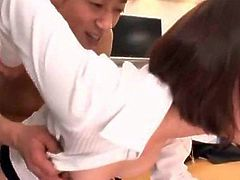Cute Asian office babe getting her clothes ripped off and pussy banged at work