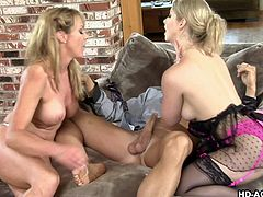Sunny and Shayla have no problem sharing a man. They sit his down on the chair and unbutton his jeans. Once his cock is out, they take turns sucking him. One sits on his face while the other continues to suck him off.