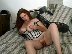 Chubby mommy wearing corset is rubbing her wet punani in a dirty amateur reality porn video. Then she sucks black cock deepthroat. A bit later, hefty mom is nailed hard missionary style.