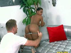 Bria Marie is a dark skinned curvy honey with big booty and massive natural tits. She shows her delicious assets by the pool and gets naked for guy indoors. He puts his hands on her big brown butt cheeks.