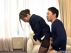 Stunning Japanese chick in stewardess uniform gets her hot tits massaged and pussy licked. After that she gives a blowjob and gets toyed with two vibrators at the same time.