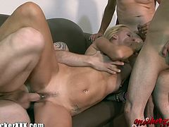 Blonde cougar loves taking on several cocks at once, it's the only way she can get her big dick fix