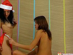 On New Year's eve two mesmerizing brunette Snow Maidens throw raunchy lesbian games. One of them lies on her back while another hussy pounds her vagina with a dildo.