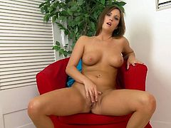 A horny chick undresses for the camera and starts relieving herself with a sex toy.