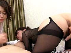 Japanese cutie Kaoru Natsuki and her GF wearing sexy outfits are having fun with some horny dude indoors. They let him play with their hairy pussies and then jump on his hard schlong by turns.