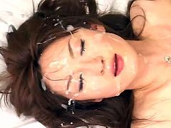 After having her hairy twat nailed right, japanese in black stockings swallows like a pro