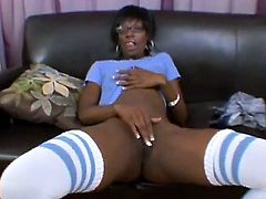 Handsome white fellow looks at this fascinating, so sexual and so naughty ebony mature bitch Taylor Starr having nice solo masturbation! Watch her playing with twat before him.