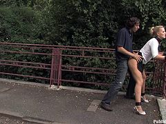A dirty blonde slut gets tied up and forced to do humiliating stuff outdoors where everyone can watch, hit play and fucking check it out!