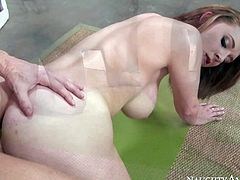 Sexy ass and pale babe with hot curved body and big arousing boobs gets into a doggy pose on the floor and gets rammed by her man Ryan McLane from behind