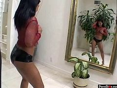 Are you longing to jizz at once? Then this Pornstar sex clip is what you need. Amazing booty exotic brunette with sweet tits wears heels and fishnet top. Wondrous Thai black head poses and wins a chance to suck a tasty lollicock for gooey sperm right away.