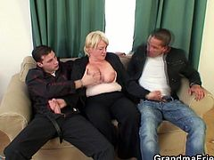These young studs take advantage of how drunk this granny is and slam her old fat pussy and her mouth.