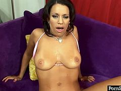 Sex hungry ardent brunette MILF gets her ruined bald vagina pounded in missionary style before she sucks a massive cock zealously in sultry sex video by Pornstar.