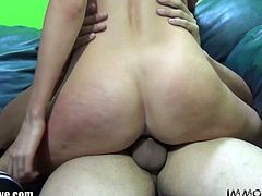 Lovely young stripper Emily Kae strips off her clothes and let Porno Dan licks it hard till she sucks his big cock and gets fucked on the couch.