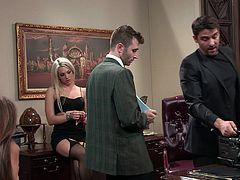 This big shoot reads the scrips and likes it. The guy tries to convince him that this movie will bring him serious cash but it's not enough. Well, at least he receives some of the funds he needs. After they leave, the scumbag fucks his blonde babe! She kneels, sucks his cock and bends over to take it from behind