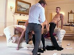 All these beasts have gathered around Aleska Diamond tasty twat, Watch how this horny slut fucked by three cocks of businessmen. She got her both holes and moth stuffed by hard rock cocks.Enjoy!