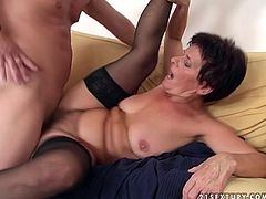 Horny granny that loves man of half of her age is fucking furiously in a dirty old young fuck clip. So she is getting rammed hard in her clam in a doggy position until the guy cums shooting her bearded clam with huge load.