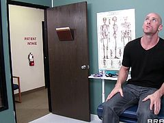 Bald dude Johnny is at the hospital and he feels a bit uncomfortable with that. The guy is about to take a medical examination but instead of a saggy nurse he receives something special. A brunette nurse comes in and checks his mouth and then the blonde babe Tanya takes care of him from there, sucking his dong.