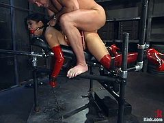 Mark Davis is playing dirty games with sexy Asian chicik Mika Tan wearing latex clothes. He binds the girl, torments her and then pounds her pussy from behind as hard as he can.