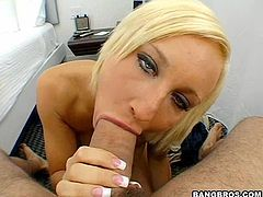 A nasty-ass fucking blonde slut gets her wet gash stuffed with hard cock big motherfucking time, check it out right here!