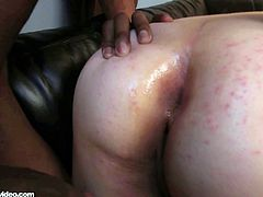 Busty bbw redhead gets assfucked by a black stud