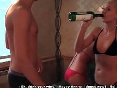 Ann was pretty much angry and she decided to have a lesbian lick session with her blonde friend. Horny Slava decided to revenge his naughty babe and play some nasty threesome sex game in which he fucked tight holes and roughly penetrated!