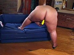Watch this hot BBW getting naked and toying her pussy with big yellow dildo.She loves playing with her fat pussy and toys it hard and nice till a real cock comes in and fucks her deep.