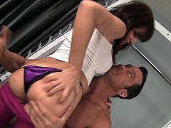 Billy Glide is at his buddies house using the gym. The friend's mom walks in to check him out. She likes what she sees and they fuck each other. She gives him a great rimjob while she jerks him off from behind.