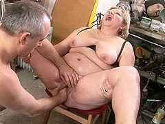 Vast botomless soaking cunt of hot blooded BBW gets fisted intensively by rapacious dad before he takes a massive dildo to continue pleasing an insatiable mature in peppering sex video by 21 Sextury.
