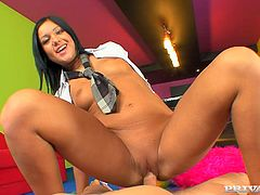 Hot dark-haired chick Angelica Heart is having fun with some guy in her room. She shows him her cock-sucking talent and then they have passionate doggy style sex.