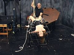 Skinny slut gets spanked in BDSM