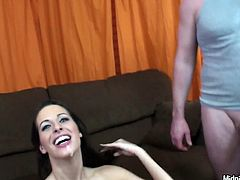 Kinky and pretty brunette presented in hot Pornstar sex clip is surely worth checking out. Zealous cutie jams her big tits while being fucked missionary tough. Gorgeous nympho opens her mouth to fill it with gooey sperm then.