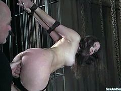This sizzling babe can stand any pain, as she is getting the reward, which is a fat cock in her tight snatch! So he tortures her so bad and fucks that twat with passion!