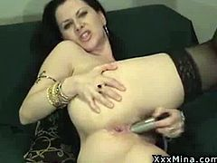 Horny mature brunette Mina, likes putting on a show with some hot masturbation using her favorite dildos and vibrators but you'll really be turned on by the dirty talk during this webcam show.