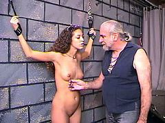 Hot babe gets stimulated and dominated by older guy in nasty BDSM porn scene