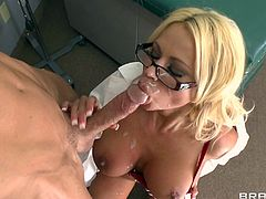 Horny nurse receives deep pleasure