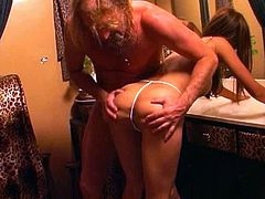 Voracious brownhead mom is sucking hard dick of mature guy. She polishes his dick properly before taking the tool deep in her butt hole. Her pucker stretched wide as hell. Check out this provocative anal porn video presented by PornStar.