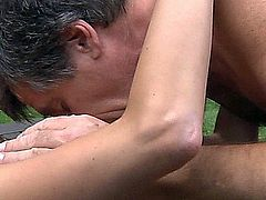 Gina Gerson is horny and needs to fuck hard. Theolder gardener nearby and his old cock is all she wants right now. To get his old cock into a hardcore act she teases and seduce him till oldyoung bang occurs